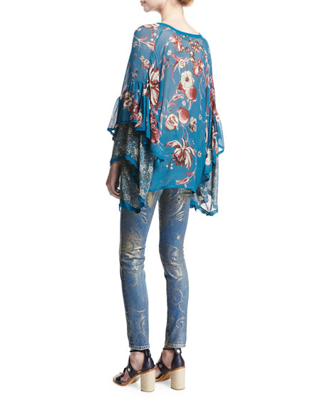 Foiled-Paisley Skinny Jeans
