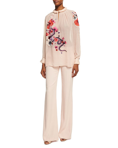 Satin-Stripe Wide-Leg Pants, Blush and Matching Items
