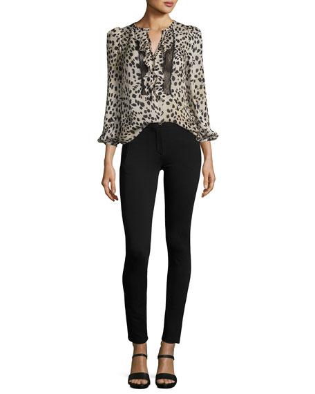 Skinny Zipper-Detail Leggings, Black