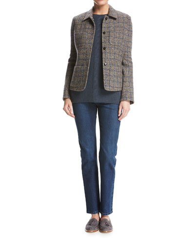 Inverness Tweed Blazer with Leather Trim, Gray and Matching Items