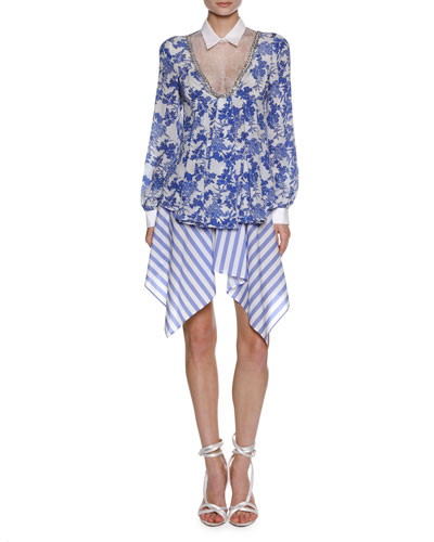 Floral-Print Blouse with Lace Inset, White/Blue and Matching Items