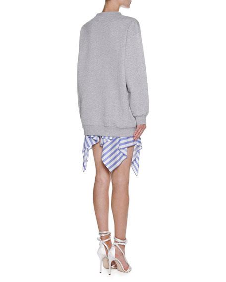 Striped Handkerchief-Hem Skirt, White
