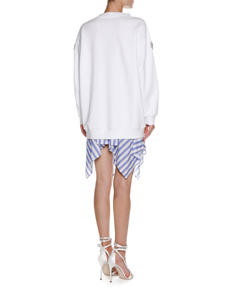 Striped Handkerchief-Hem Skirt, White