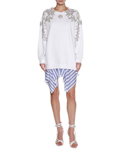 Striped Handkerchief-Hem Skirt, White and Matching Items