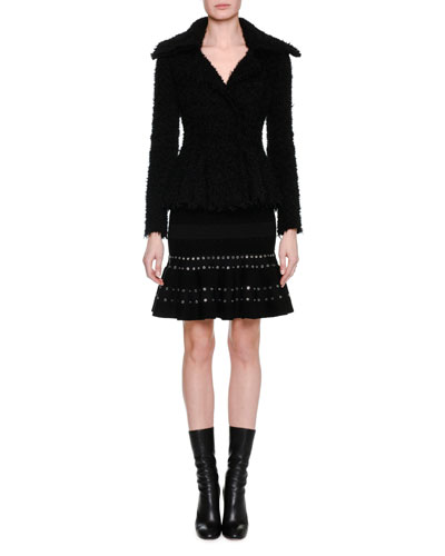 Textured Boucle Peplum Jacket, Black and Matching Items