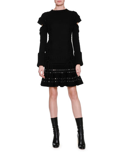 Chenille Miniskirt with Eyelet Trim, Black and Matching Items