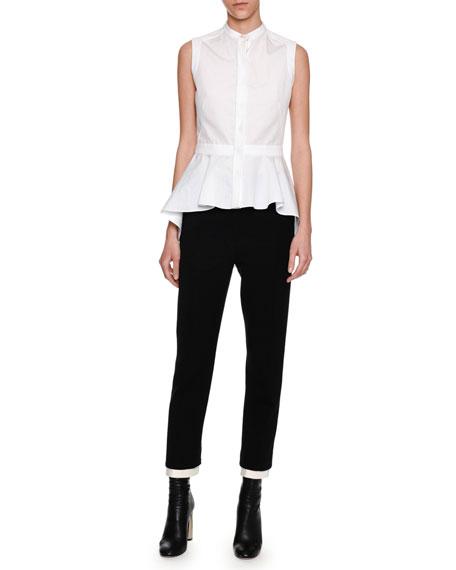 Sleeveless Waterfall Peplum Shirt, White