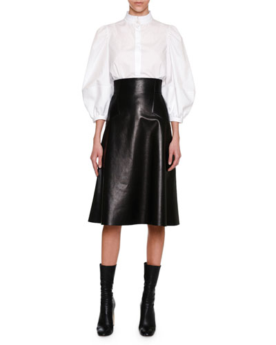 High-Waist Plongé Leather Skirt, Black and Matching Items