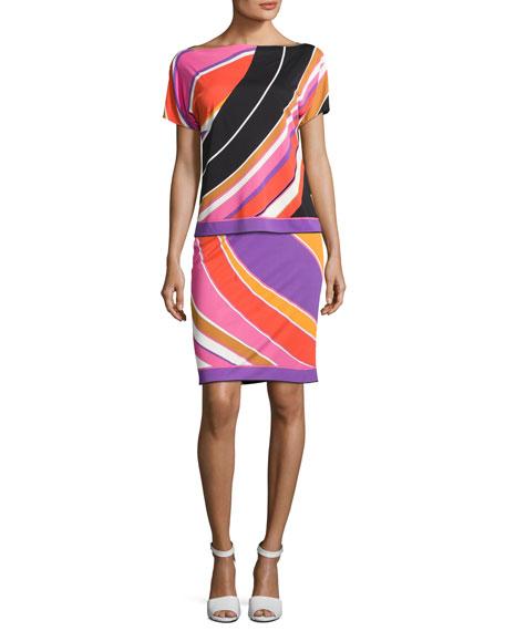 Printed Slim Miniskirt, Purple/Pink