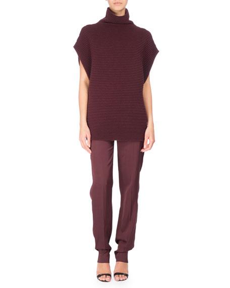 Short-Sleeve Ribbed Merino Wool Tunic, Red