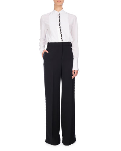 Rickrack Tuxedo-Stripe Wide-Leg Pants, Black/Blue and Matching Items