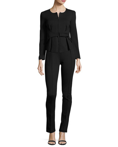Milano Jersey High-Waist Belted Skinny Pants, Black and Matching Items