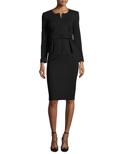 Milano Jersey Belted Zip-Front Jacket, Black and Matching Items