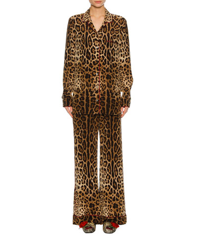 Leopard-Print Silk Pajama Shirt, Leopard and Matching Items