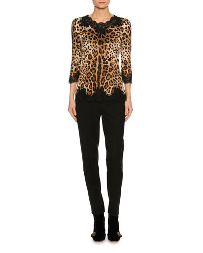 Lace-Inset Satin 3/4-Sleeve Blouse, Leopard and Matching Items