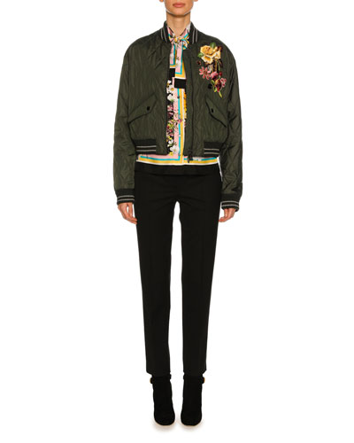 Quilted Floral-Embroidered Bomber Jacket, Olive and Matching Items