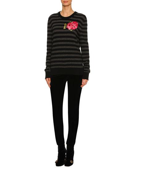 Velvet Straight-Leg Pants, Black