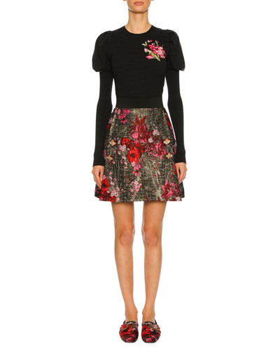 Floral-Embroidered Puff-Sleeve Sweater, Dark Gray and Matching Items