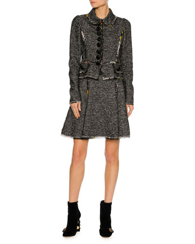 Chiffon-Trim Tweed Jacket, Gray and Matching Items
