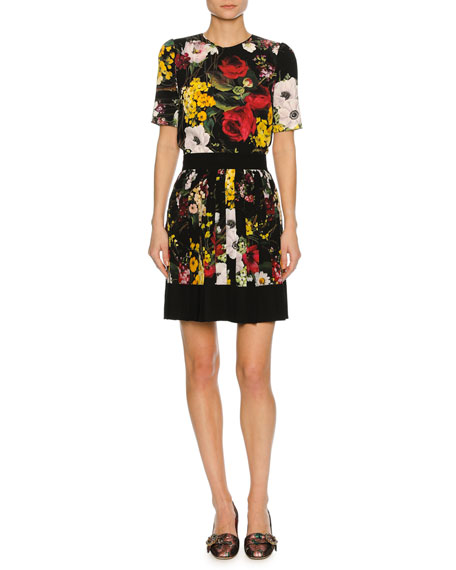 Floral Bouquet Pleated Miniskirt, Black