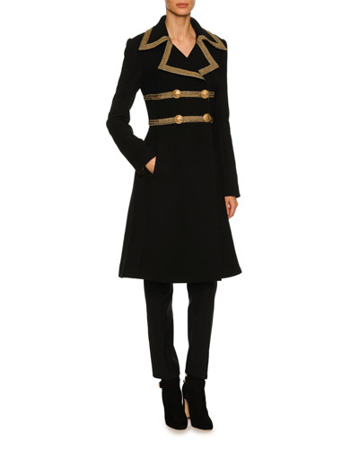 Metallic-Trim Wool-Crepe Coat, Black and Matching Items