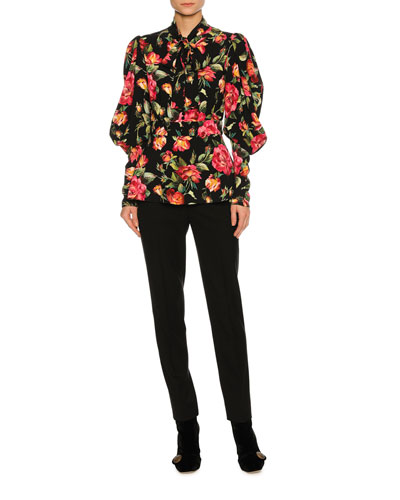 Rose-Print Cady Tie-Neck Blouse, Black and Matching Items