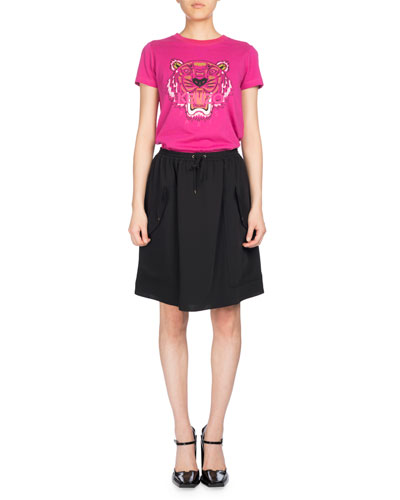 Short Jog-Style Flare Skirt, Black and Matching Items