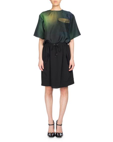 Short Jog-Style Flare Skirt, Black