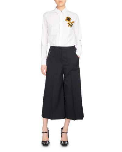 Wide-Leg Mid-Rise Culotte Pants, Black and Matching Items