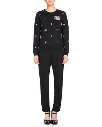 Allover Multi-Icons Classic Sweater, Black and Matching Items