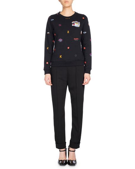 Allover Multi-Icons Classic Sweater, Black