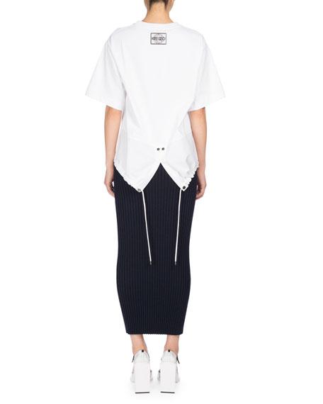 Bodycon Rib-Knit Wool Midi Skirt, Navy