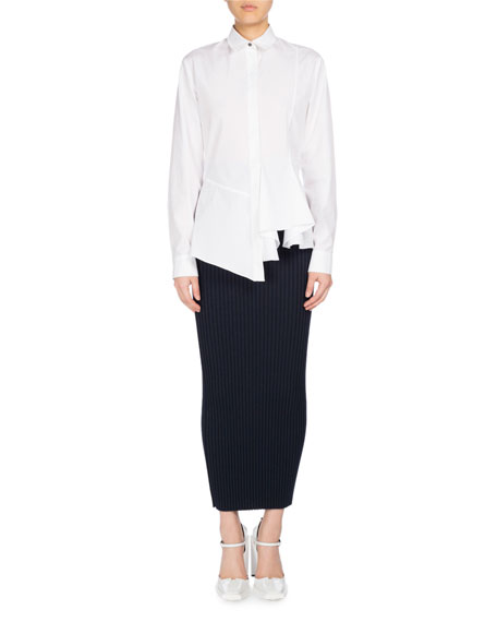 Long-Sleeve Collared Peplum Shirt, White