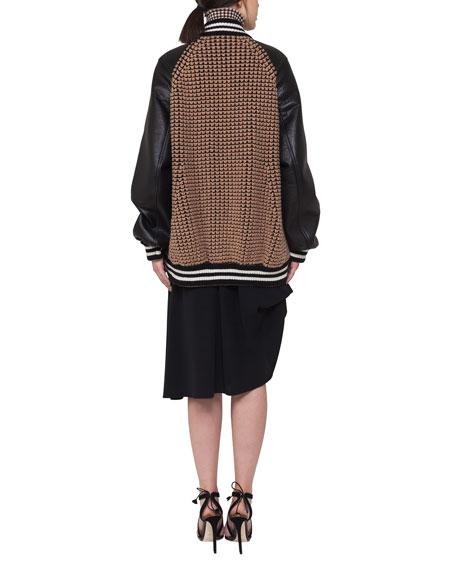 Silk Georgette Bustle A-Line Skirt, Black
