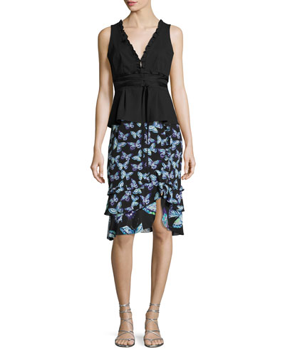 Farfalla Tiered Silk Butterfly Skirt, Black and Matching Items