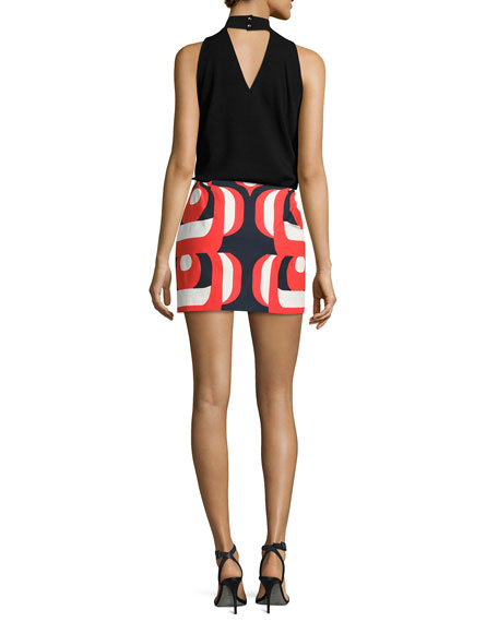 Amphora Mod-Print Miniskirt, Red Multi