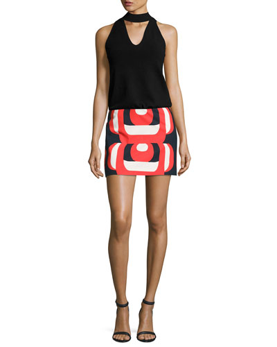Amphora Mod Printed Miniskirt, Red Multi and Matching Items
