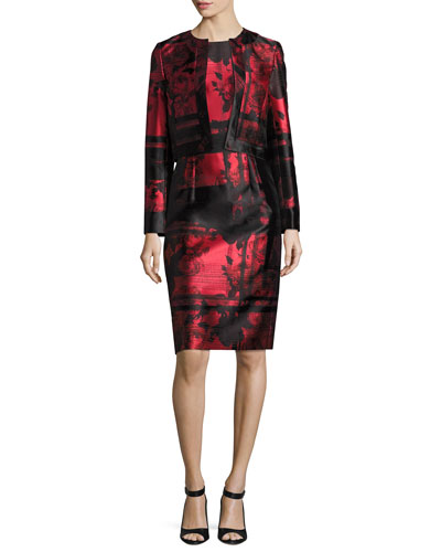 Floral & Stripe Open-Front Cropped Jacket, Red/Black and Matching Items