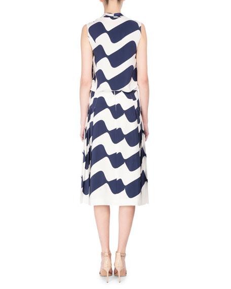 Wave-Print Pleated Midi Skirt, Blue/White