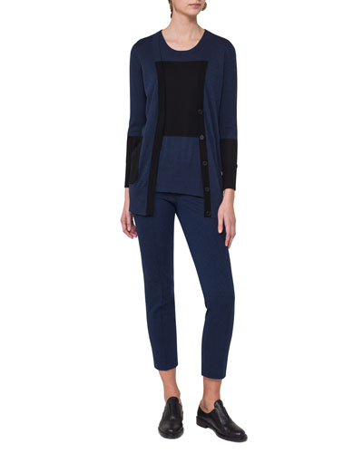 Frankie Slim-Leg Jersey Ankle Pants, Navy and Matching Items