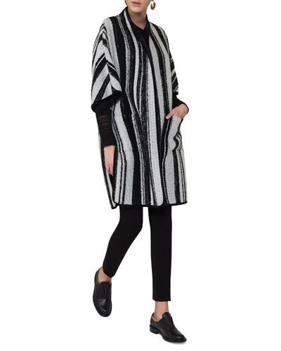 Striped Knit Cape Coat, Multi Pattern and Matching Items