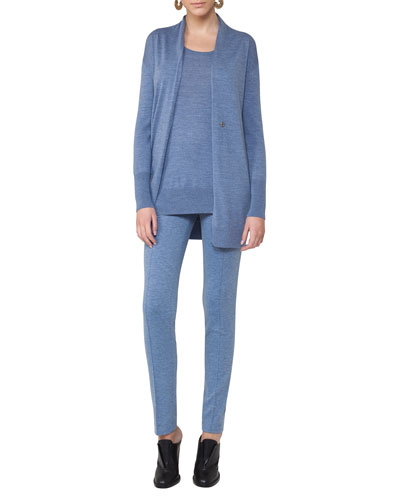 Long Wool Melange V-Neck Cardigan, Light Blue and Matching Items