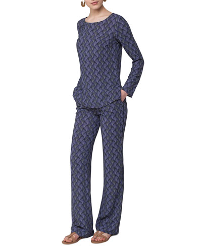 Marla Abstract-Print Pants, Blue Pattern  and Matching Items