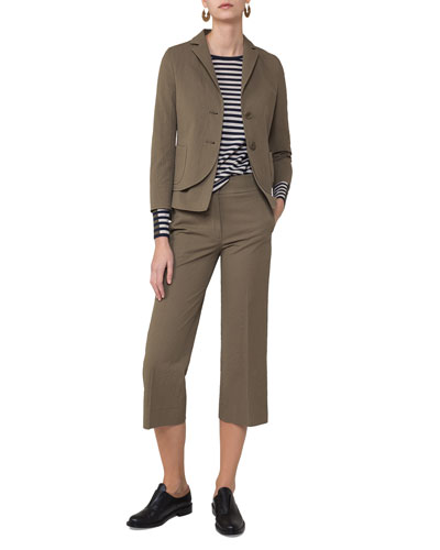 Madison Seersucker Cropped Straight-Leg Pants, Taupe and Matching Items