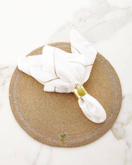 White/Gold Linen Napkin, Set of 2