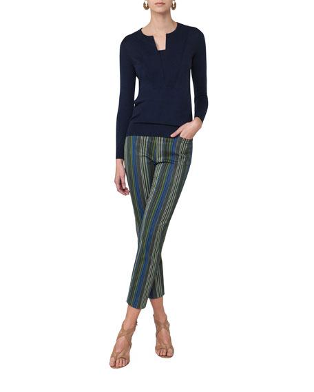 Franca Paracas-Print High-Waist Cropped Pants, Multi
