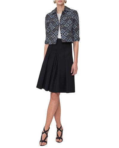 Jacquard 3/4-Sleeve Cropped Jacket, Blue Multi and Matching Items