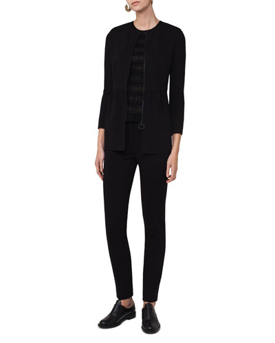 Zip-Front Long Peplum Jacket, Black and Matching Items