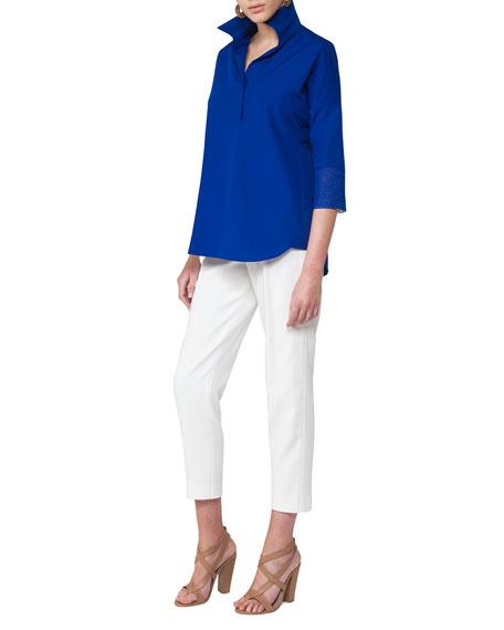 Pleated Stretch-Cotton Fashion Pant, Cream