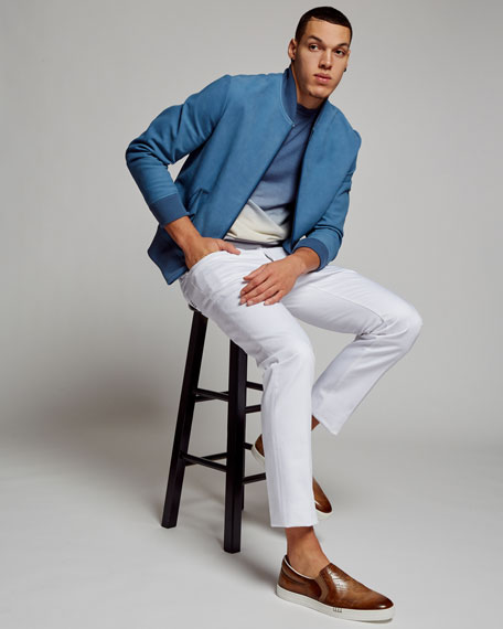 Ombré Cashmere Sweater, Light Blue/White/Gray